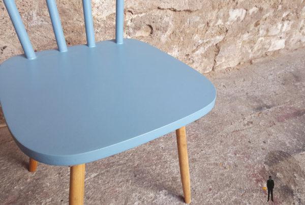 Lot de 2 chaises vintage à barreaux, bois, jaune, bleu Gentlemen Designers