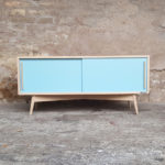 ENFILADE SCANDINAVE TV BAS, chene clair, bleu - France - scandinave