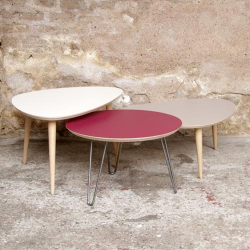 MADE IN FRANCE - Table basse tripode gigognes sur-mesure