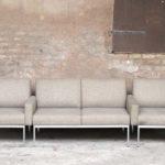 Ensemble canapé et fauteuils vintage scandinave en tissu, esprit Knoll