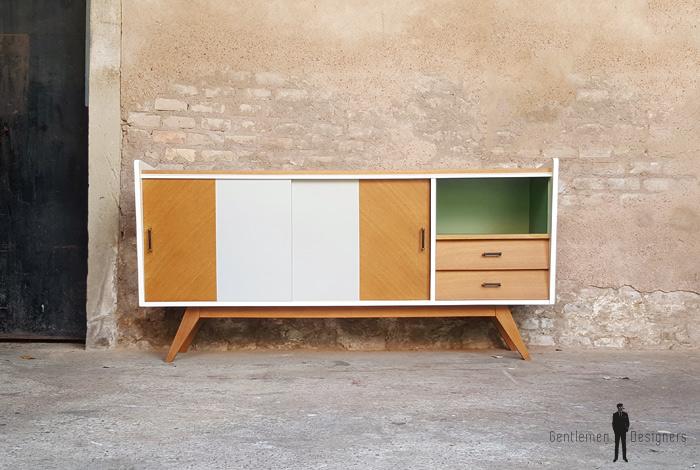 enfilade buffet vintage ch ne relook gris clair vert. Black Bedroom Furniture Sets. Home Design Ideas