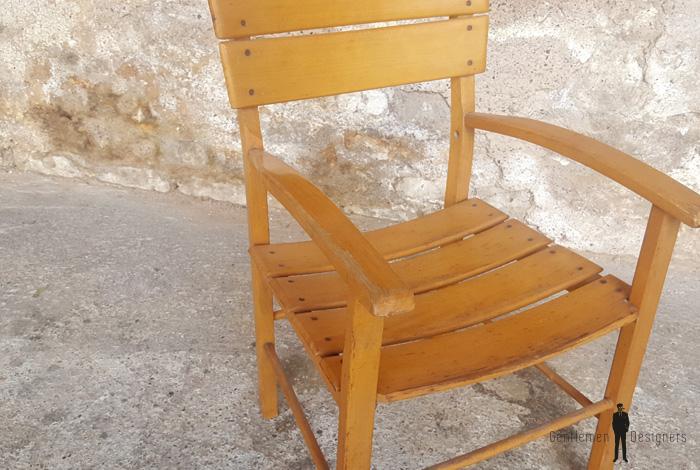 Chaises vintage à barreaux et accoudoirs, bois, taille enfant