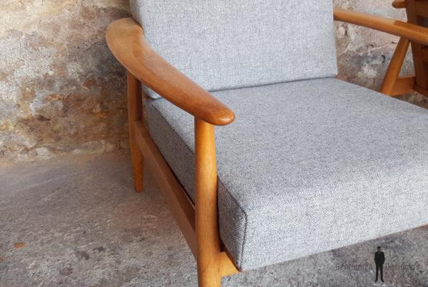 GENTLEMEN DESIGNERS // Paire de fauteuils scandinave vintage, tissu Kvadrat, rénovés