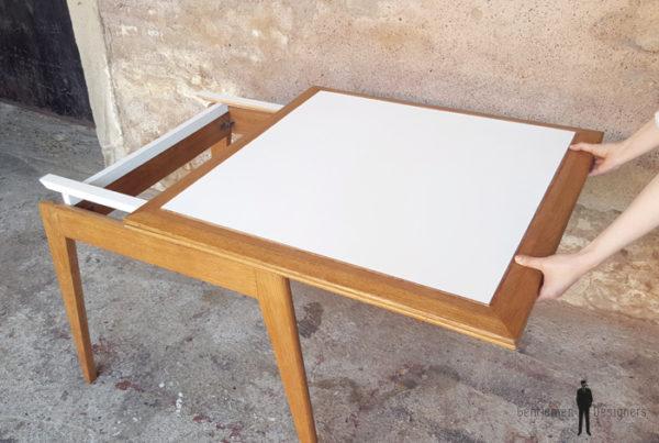 Table carrée rallonge papillon, vintage, chêne, pieds compas gentlemen designers