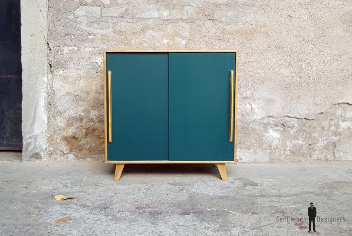 gentlemen designers meuble vintage en bois portes coulissantes bleu canard - Meuble Vintage