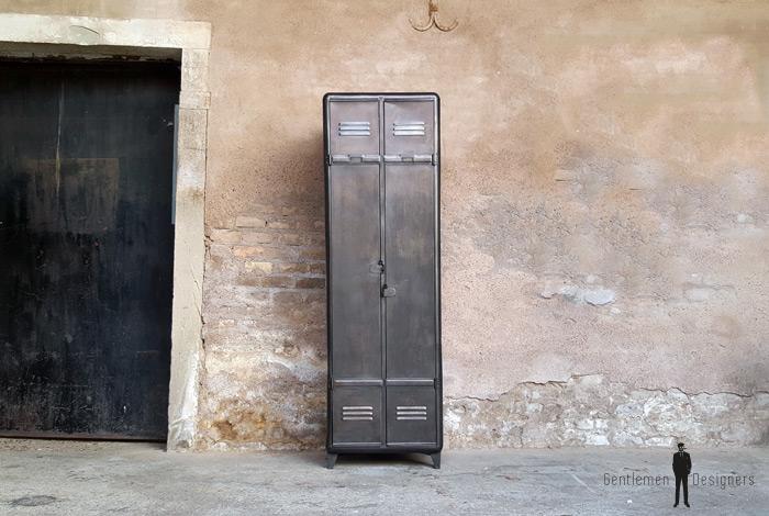 Armoire deux portes, vestiaire, rangement en métal, style indus