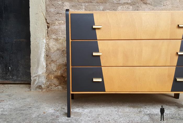 Commode Vintage Bois 3 Tiroirs Graphique Noir Design 50