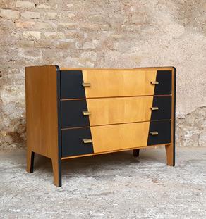 GENTLEMEN DESIGNERS Commode vintage bois 3 tiroirs, graphique noir, design 50