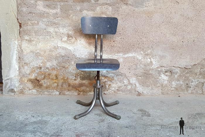 Chaise vintage atelier style indus, métal et motif gris