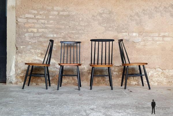 6 chaises vintage Tapiovaara, teck barreaux noir, fanette