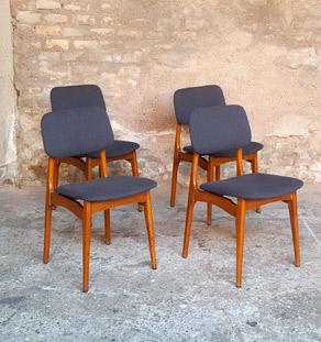 Chaises vintage scandinaves, bois, tissu gris anthracite Gentlemen Designers