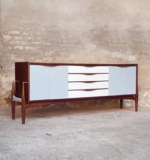 Enfilade vintage scandinave, teck, 4 tiroirs, 4 portes