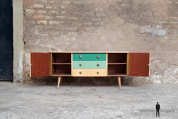 Meuble bas à tiroirs, vintage relooké, camaieu vert Gentlemen Designers