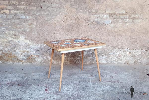 Table d'appoint mosaïque, bois naturel clair, ceinture blanche