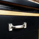 Bureau vintage, plateau stratifié fenix noir, pied métal