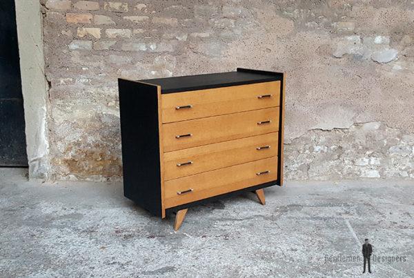 Commode vintage noir, 4 tiroirs chêne clair, pied compas