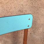 lot 6 chaises formica,pieds bois, bleu et vert, vintage