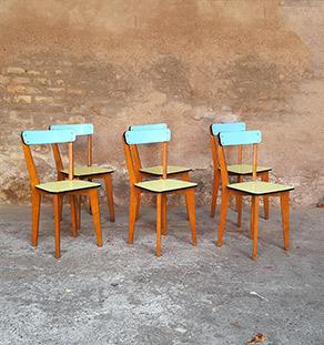 lot 6 chaises formica,pieds bois, bleu et vert, vintage Gentlemen designers