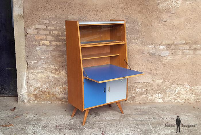 Secrétaire vintage en bois, bleu et gris clair, pieds compas