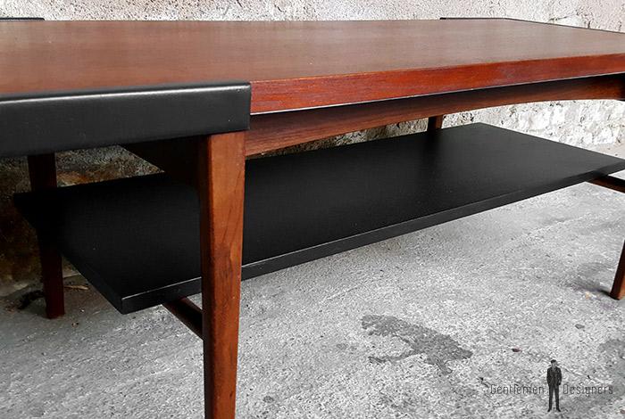 table basse r versible structure teck et plateau stratifi noir. Black Bedroom Furniture Sets. Home Design Ideas