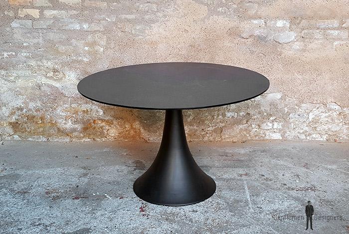 table ronde vintage noir pied tulipe mtal plateau en verre - Table Ronde Pied Tulipe