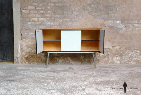 buffet_formica_bleu_gris_chene_dore_vintage_bois_retro_design_annee_50_60_70_unique_original_gentlemen_designers_strasbourg_paris_alsace_handschuheim_bas-rhin_france