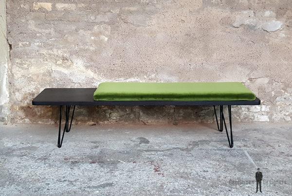 Banc_chene_teinte_ebene_vert_tissu_vintage_sur_mesure_creation_design_annee_50_60_fabriquer_france_made_in_gentlemen_designers_strasbourg_alsace_francais-(2)