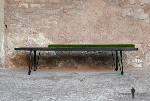 Banc_chene_teinte_ebene_vert_tissu_vintage_sur_mesure_creation_design_annee_50_60_fabriquer_france_made_in_gentlemen_designers_strasbourg_alsace_francais-(6)
