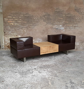 banquette-cuir-2-places-caisson-en-chene-pieds-metal