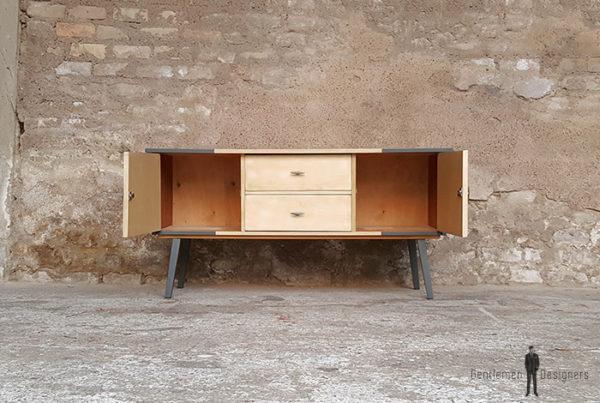 meuble-bas-vintage-tv-gris-graphiques-2-portes-2-tiroirs