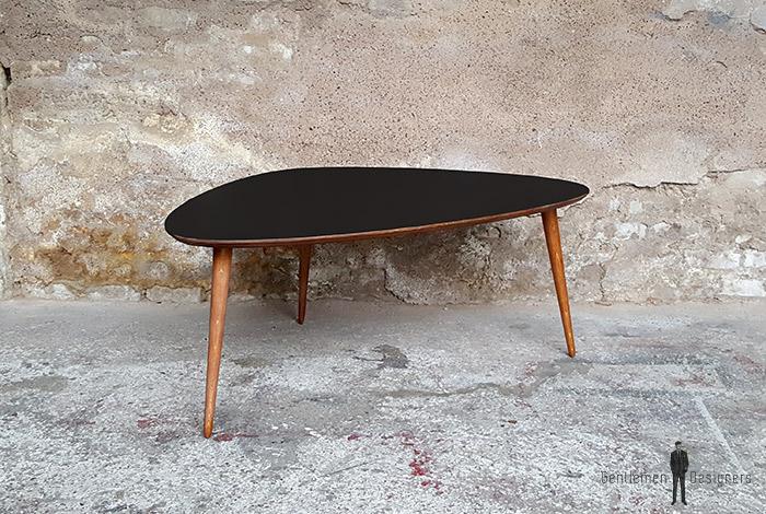 Table tripode noir teinte teck produit d exposition - Destockage table basse ...