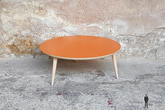 table_basse_ronde_orange_vintage_unique_original_gentlemen_designers_strasbourg_paris_alsace_handschuheim_bas-rhin_france