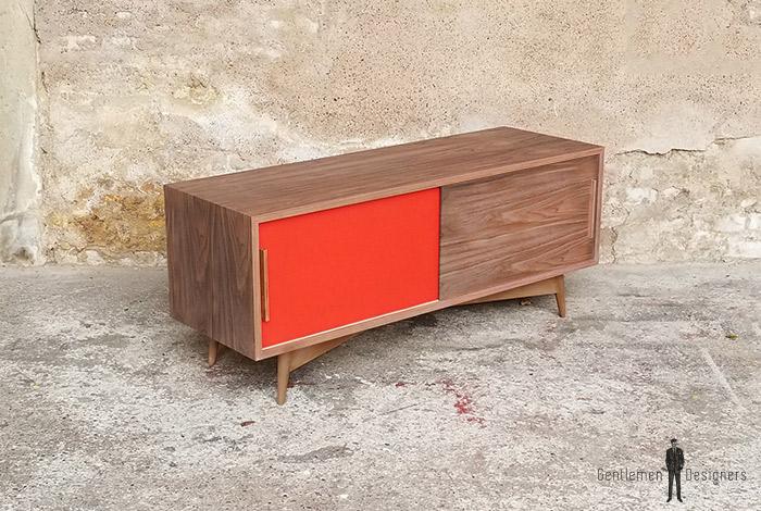 creation sur mesure meuble tv noyer 2 portes. Black Bedroom Furniture Sets. Home Design Ideas