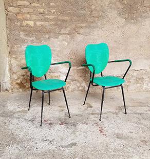2_chaises_vert_pieds_metal_sur_mesure_vintage_unique_original_gentlemen_designers_strasbourg_paris_alsace_handschuheim_bas-rhin_france-vignette