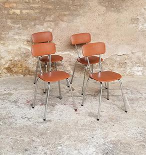 lot_4_chaises_simili_cuir_skai_brun_pieds_metal_sur_mesure_vintage_unique_original_gentlemen_designers_strasbourg_paris_alsace_handschuheim_bas-rhin_france-vignette