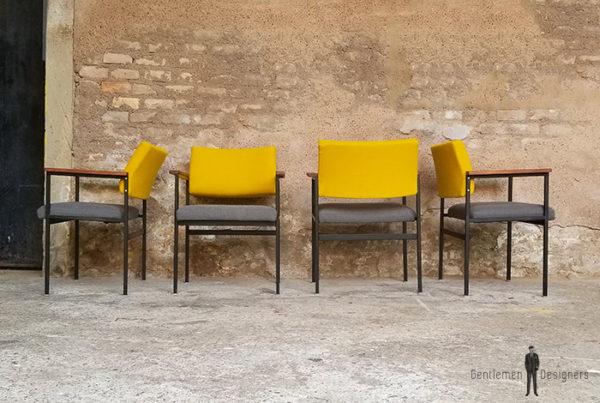 lot_chaises_tissu-gris_jaune_teck_pieds_metal_sur_mesure_vintage_unique_original_gentlemen_designers_strasbourg_paris_alsace_handschuheim_bas-rhin_france-(1)