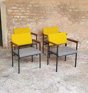 lot_chaises_tissu-gris_jaune_teck_pieds_metal_sur_mesure_vintage_unique_original_gentlemen_designers_strasbourg_paris_alsace_handschuheim_bas-rhin_france-vignette
