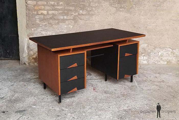 Bureau 5 tiroirs teck pieds acier motif graphique noir