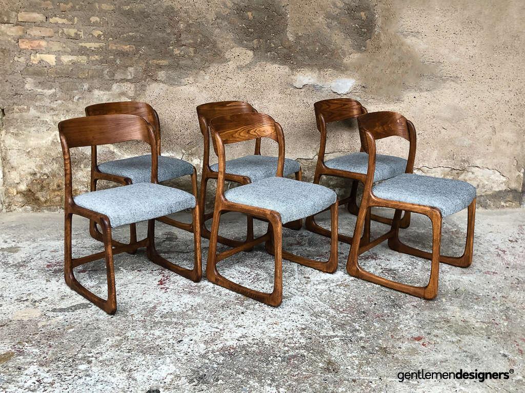 Lot de 7 chaises Baumann modèle luge traineau circa 1970