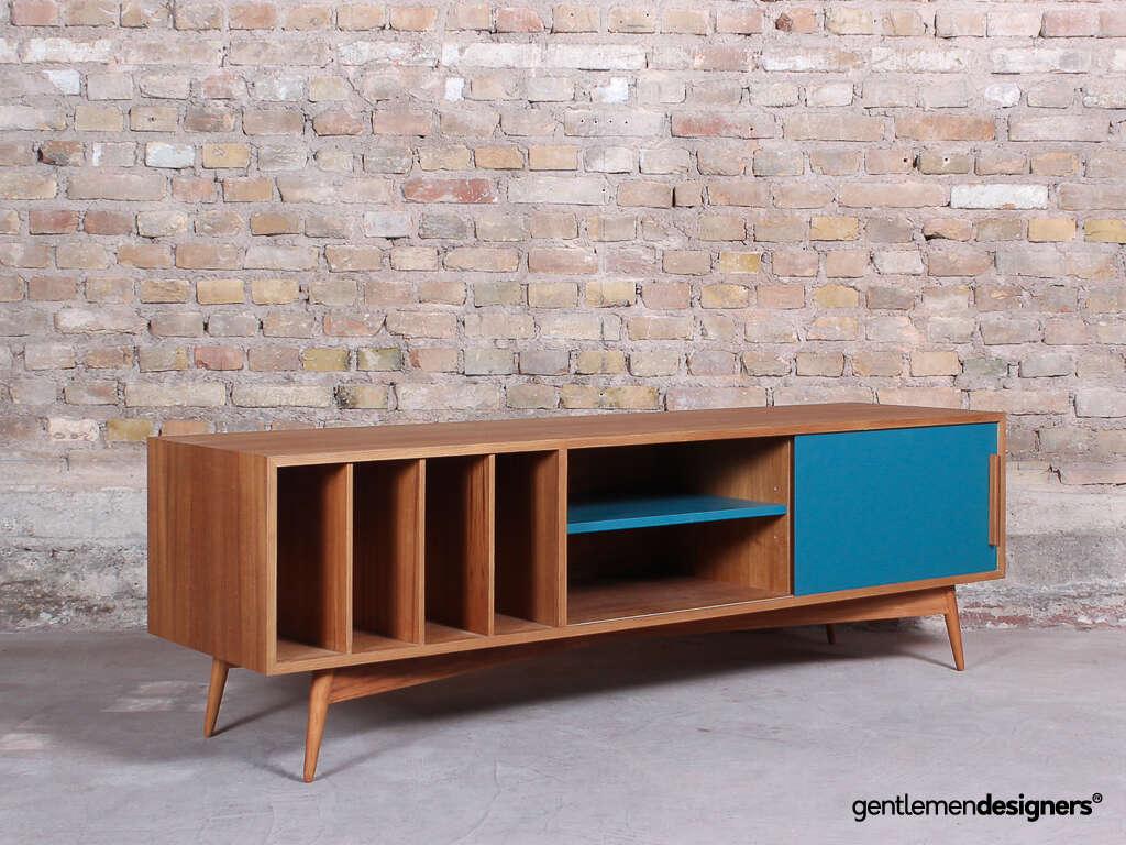 meuble tv portes coulissante niche et rangement vinyles bleu et teck