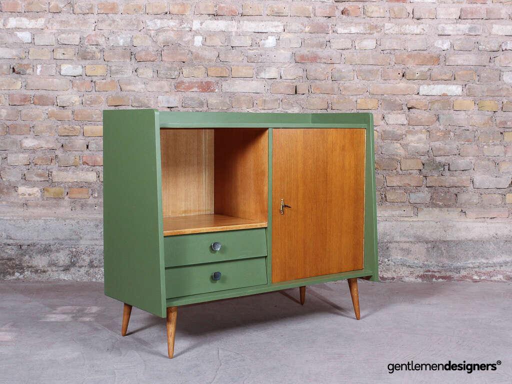 Meuble Buffet Année 50 buffet, vaisselier, meuble tv vintage années 50 sur pieds compas, bois et  vert