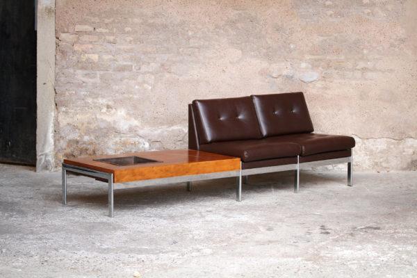Banquette_design_scandinave_teck_chrome_cuir_banc_plante_vintage_mobilier_50_60_gentlemen_designers_strasbourg_alsace_paris_lyon_01